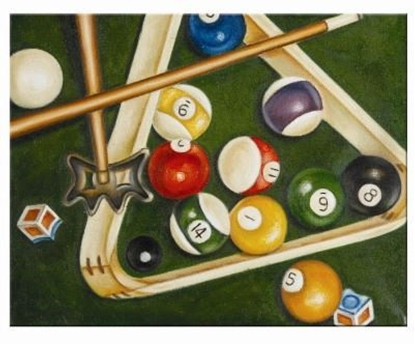 Picture of OP943-OIL PAINTING-RACK & CUES