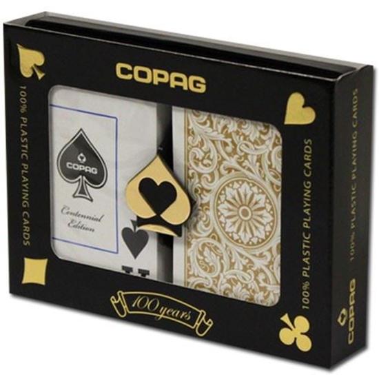 Image sur DuoPack Copag 100% plastic - Noire & Or - Bridge - Index Jumbo