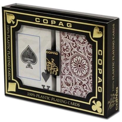 Picture of DuoPack Copag 100% plastic - Green & Burgundy - Bridge - Jumbo index