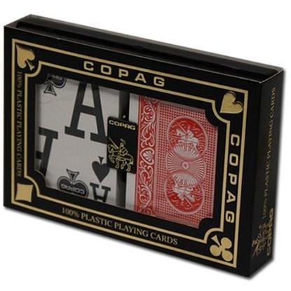 Image de DuoPack Copag 100% plastic - Bleu et Rouge - Poker - Index magnum