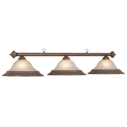 Image de Lumière a Balliard 3 lampes vitre givré et fini veiux brun