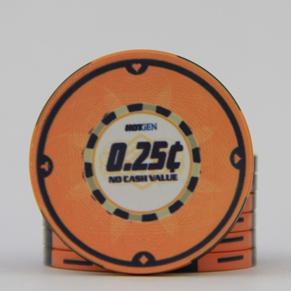 Picture of 12630-Ceramic Poker chip HotGen $0.25 /roll of 25