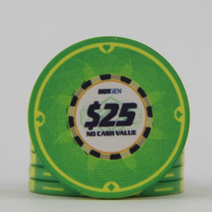 Picture of 12634-Ceramic Poker chip HotGen $25 /roll of 25