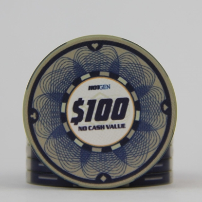 Picture of 12636-Ceramic Poker chip HotGen $100 /roll of 25