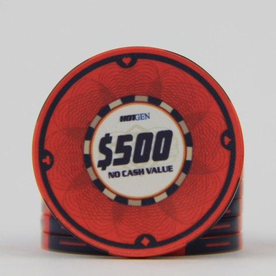 Picture of 12637-Ceramic Poker chip HotGen $500 /roll of 25