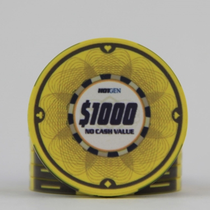 Picture of 12638-Ceramic Poker chip HotGen $1000 /roll of 25
