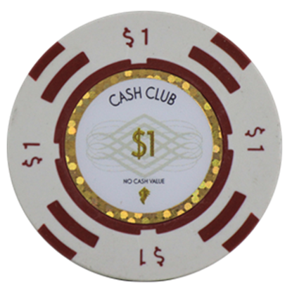 "Picture of 12790-Poker Chip ""Cash Club""  14gr -Value of $1- (bulk)"