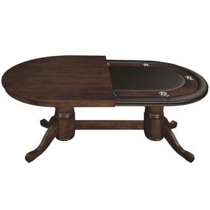 "Image de GTBL84 WT CAP | 84"" TEXAS HOLD'EM GAME TABLE WITH DINING TOP- CAPPUCCINO"