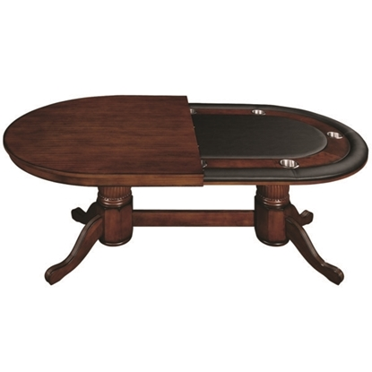 "Picture of GTBL84 WT CN | 84"" TEXAS HOLD'EM GAME TABLE WITH DINING TOP- CHESTNUT"