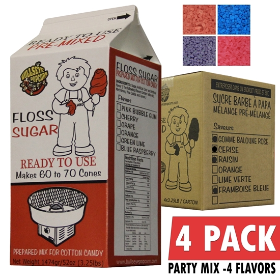 Picture of 72023-Party Mix Box of 4 X 3.25 lbs Cotton Candy Floss Sugar
